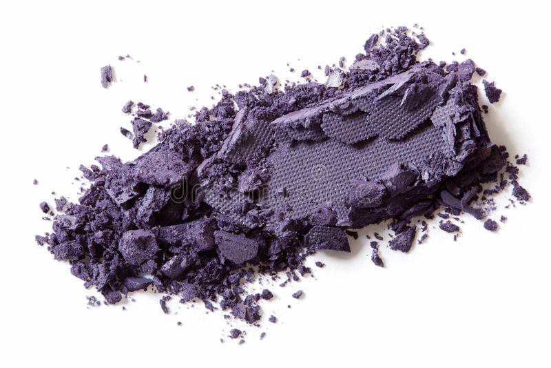 Dark purple eye shadow crushed. Dark purple eye shadow cosmetic crushed on white background stock photos