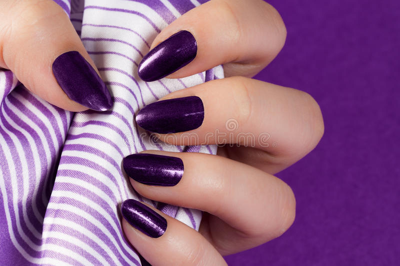 Dark purple nails. Female hand with dark purple nails is holding purple textile on purple background royalty free stock image