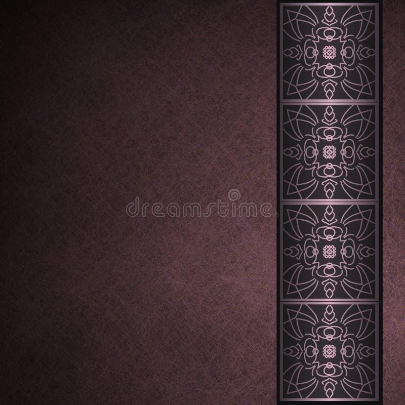 Dark purple parchment background with border vector illustration