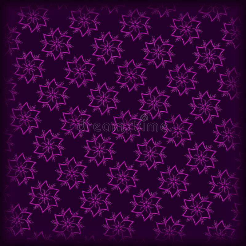 dark purple and pink hand drawnd flowers pattern royalty free stock image
