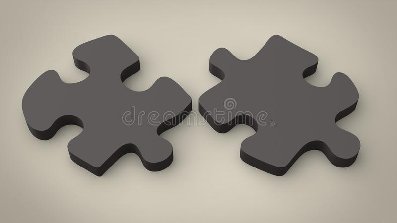 Dark puzzle pieces - separated. On dark beige background stock illustration