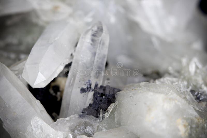 Dark quartz crystalline structure macro sharp detailed image royalty free stock photography