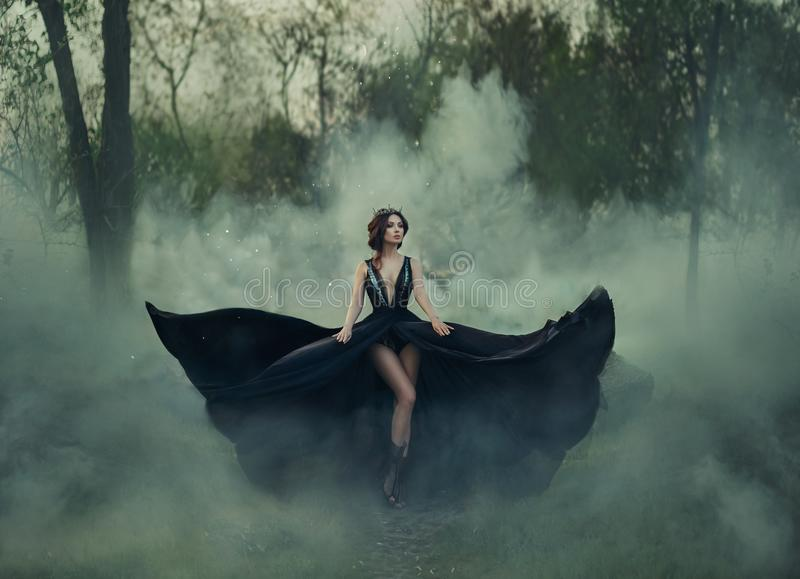 The dark queen, with bare long legs, walks fog. A luxurious black dress flares in different directions, like the wings. Of a raven. Elegant hairstyle with a stock photos