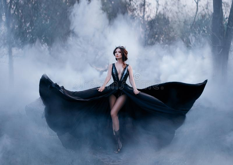 The dark queen, with bare long legs, walks fog. A luxurious black dress flares in different directions, like the wings. Of a raven. Elegant hairstyle with a stock photo