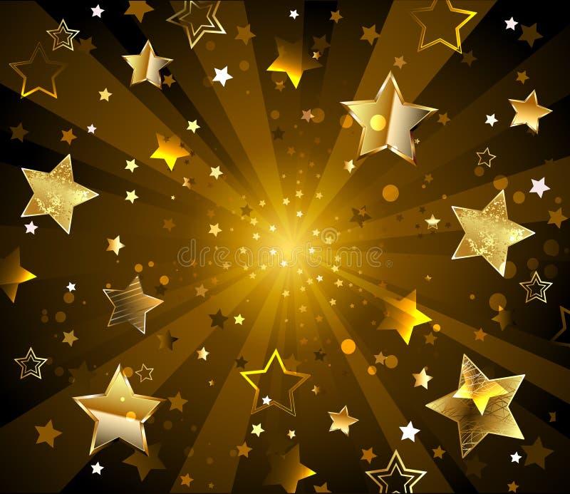 Dark radiant background with golden stars. Radiant dark background with gold, glittering stars royalty free illustration