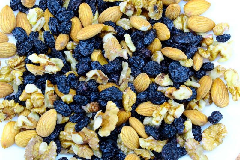 Dark raisins with raw nuts closeup royalty free stock images