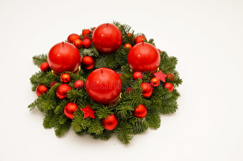 Dark red advent wreath. Christmas advent wreath with candles and advent decoration royalty free stock photography