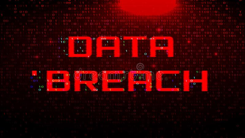 Dark Red BG with Binary Code. Data Breach Glitch Effect. Dark Red Background with Binary Code. Data Breach Glitch Effect royalty free illustration