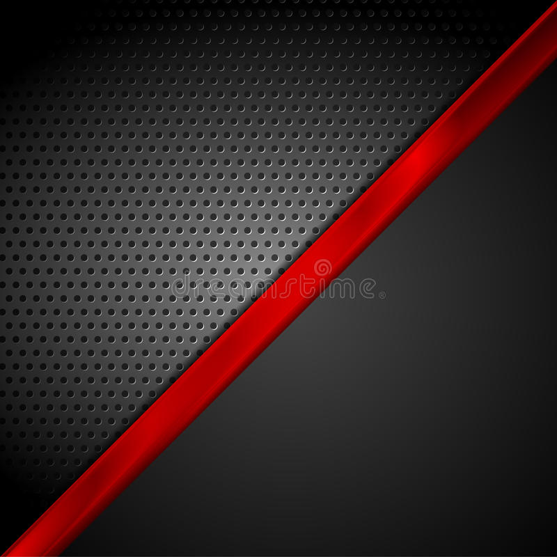 Dark Red Black Tech Abstract Background Stock Vector