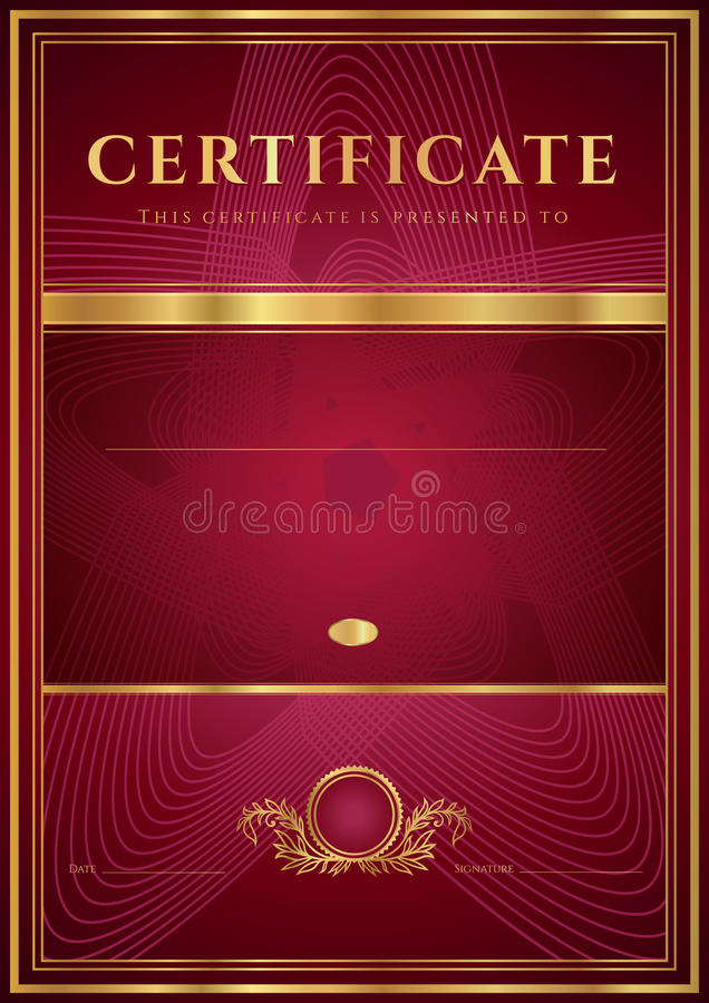 Dark Red Certificate, Diploma Template Stock Image - Image ...
