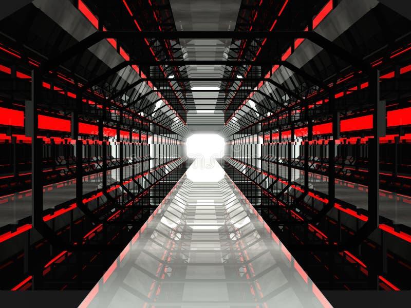 Download Dark Red Futuristic Corridor Stock Illustration - Image: 20680439