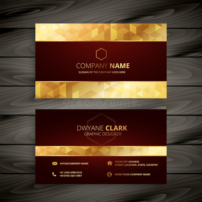 Dark red and gold business card design stock illustration