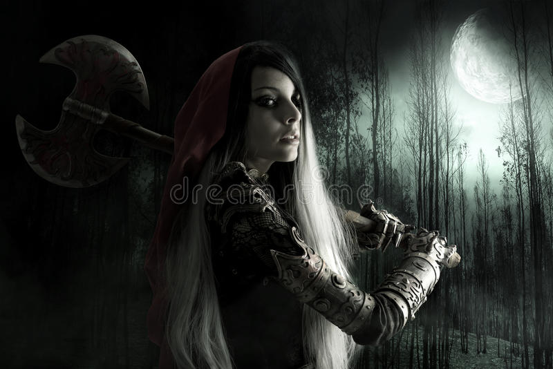 Download Dark Red Riding hood stock photo. Image of brunette, beauty - 79030796