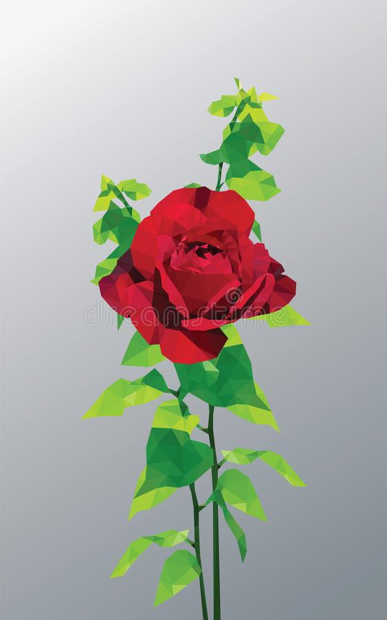 Dark red rose and fresh green leaves low polygon isolated on gray background. Redness flower leaf plant geometric graphic. Rouge floral foliage branches stock illustration