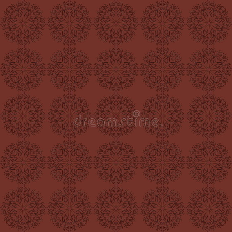 Dark red seamless background with ornamental pattern. Vector stock illustration