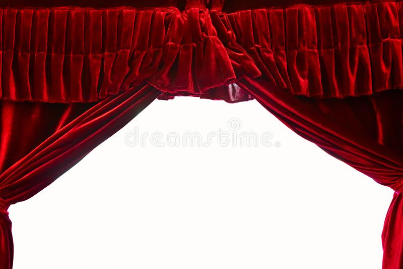Dark red stage theater curtain isolated on white background royalty free stock photography