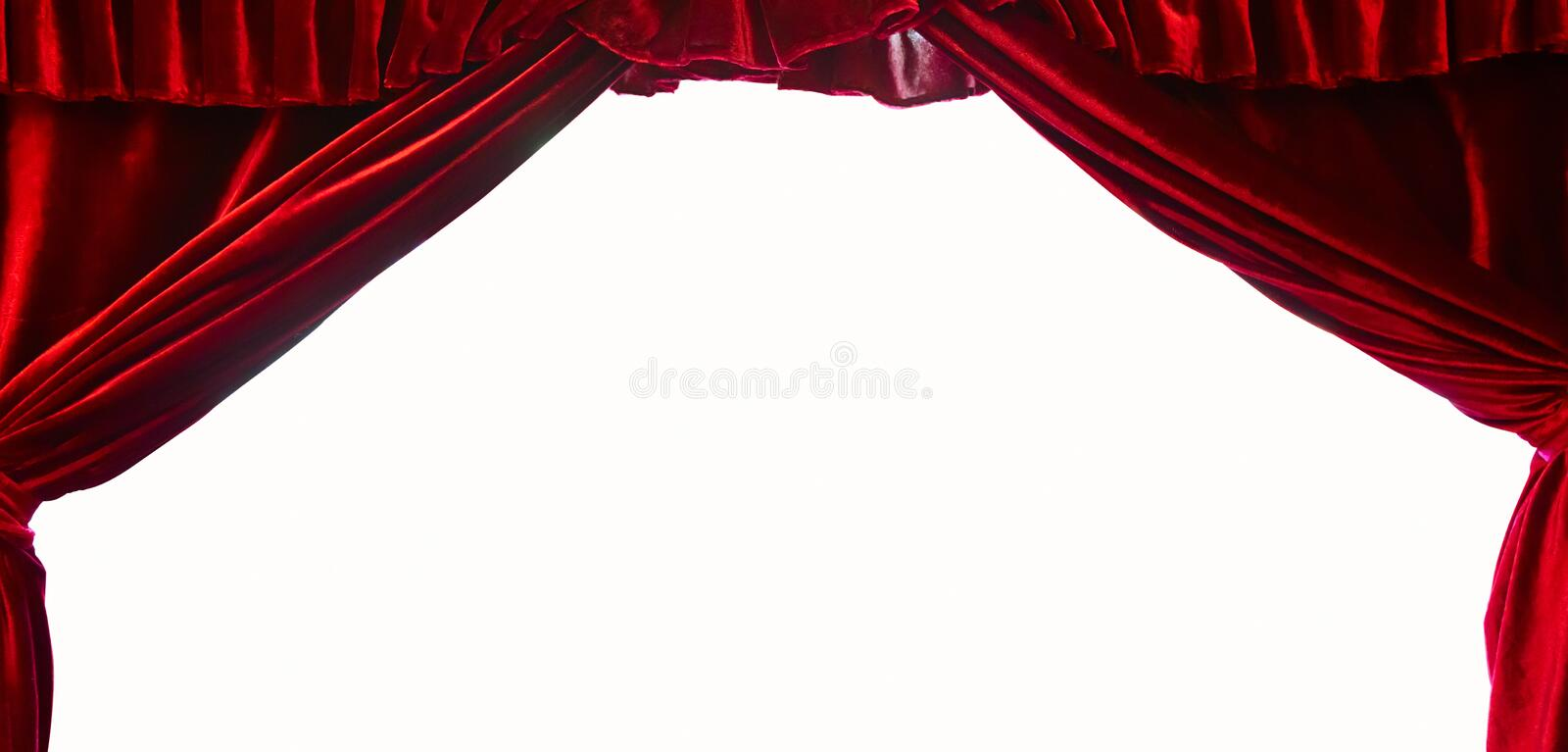 Dark red stage theater curtain isolated on white background royalty free stock images