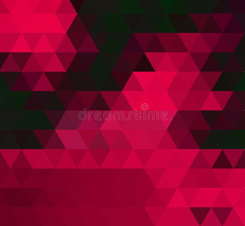 Dark red triangle mosaic template. Glitter abstract illustration with an elegant design. stock illustration