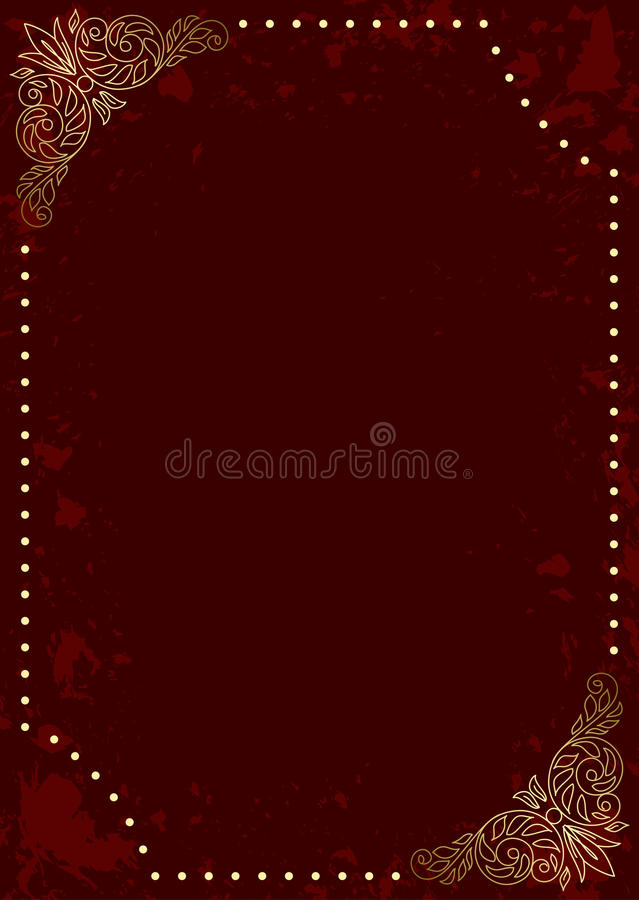 Dark red vector card with gold decorative frame vector illustration