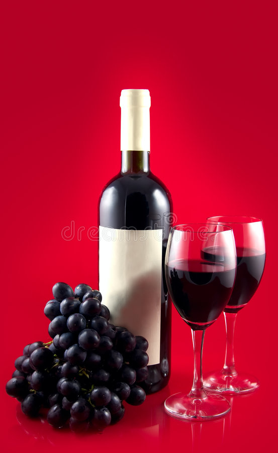 Dark Red Wine On Red Back Stock Images