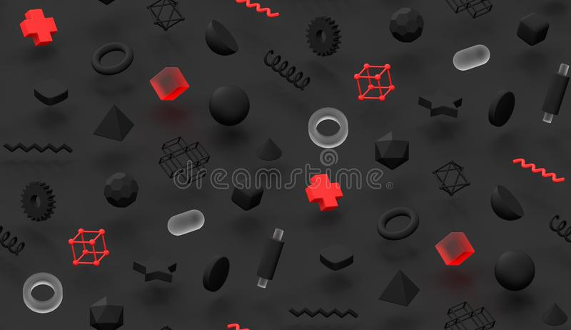 Dark render memphis abstract pattern background red and transparent elements modern 3d texture colorful cover design vector illustration