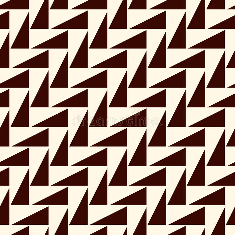 Dark repeated triangles on white background. Simple abstract wallpaper with geometric figures. Seamless surface pattern. Dark repeated triangles on white stock illustration