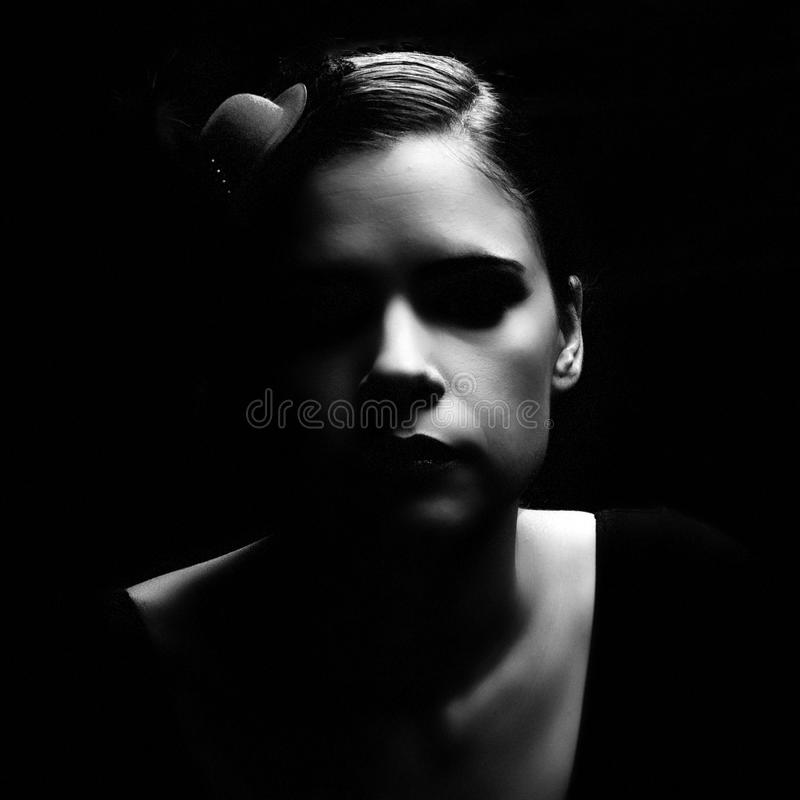 Dark retro noir woman portrait stock photography