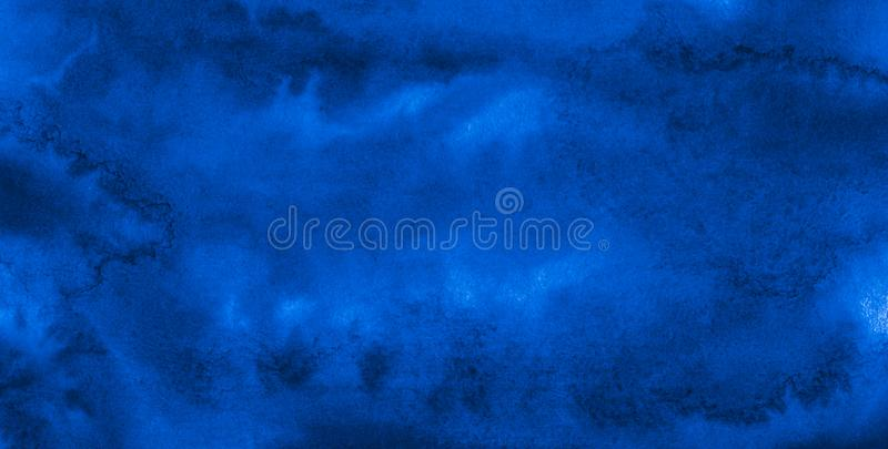 Dark rich blue watercolor background with torn strokes and uneven divorces. Abstract background for design, layouts royalty free illustration