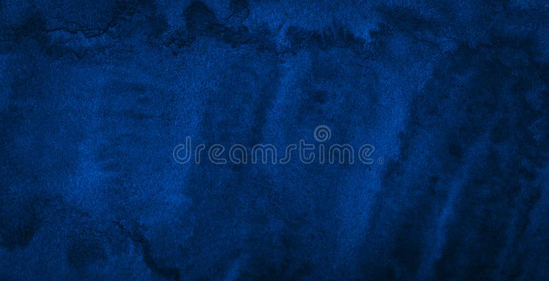 Dark rich blue watercolor background  with torn strokes and uneven divorces. Abstract background for design, layouts and patterns. Texture, splash, waves, cyan stock photo