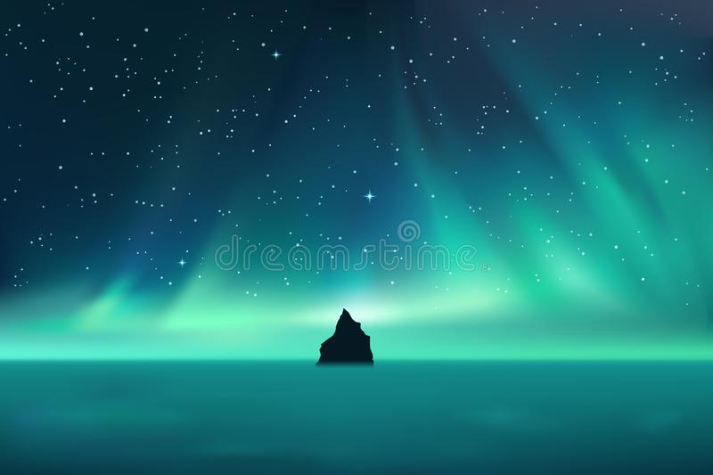 Dark rock against northern lights landscape with stars. Starry sky with polar lights, mountain in fog, vector illustration vector illustration