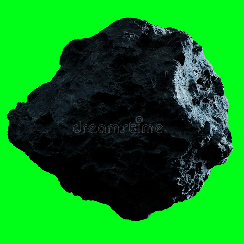 Dark rock asteroid isolated 3D rendering royalty free illustration