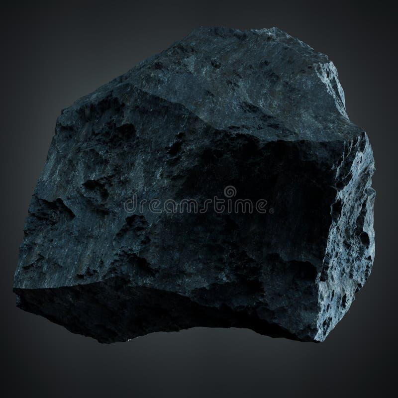 Dark rock asteroid isolated 3D rendering stock illustration
