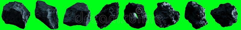 Dark rock asteroid pack 3D rendering vector illustration