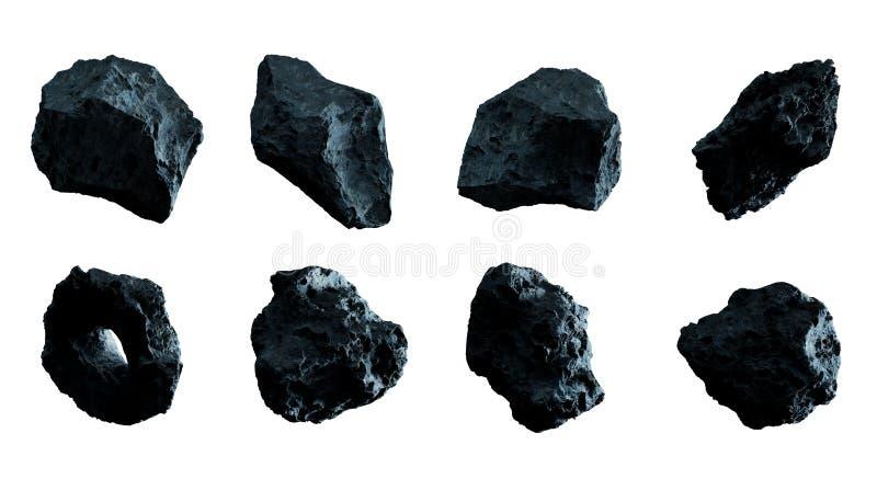 Dark rock asteroid pack 3D rendering royalty free illustration