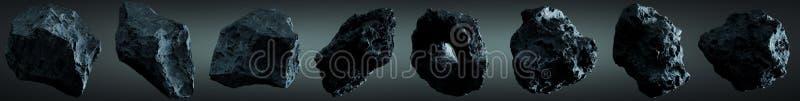 Dark rock asteroid pack 3D rendering stock illustration