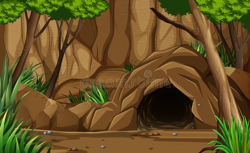 A Dark Rocky Cave from Outside. Illustration royalty free illustration