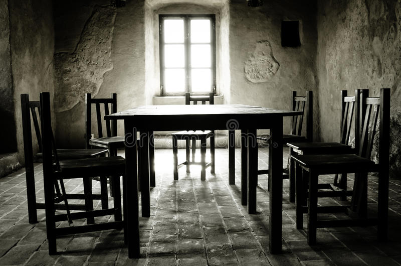 Dark room, fortress of Rupea stock image
