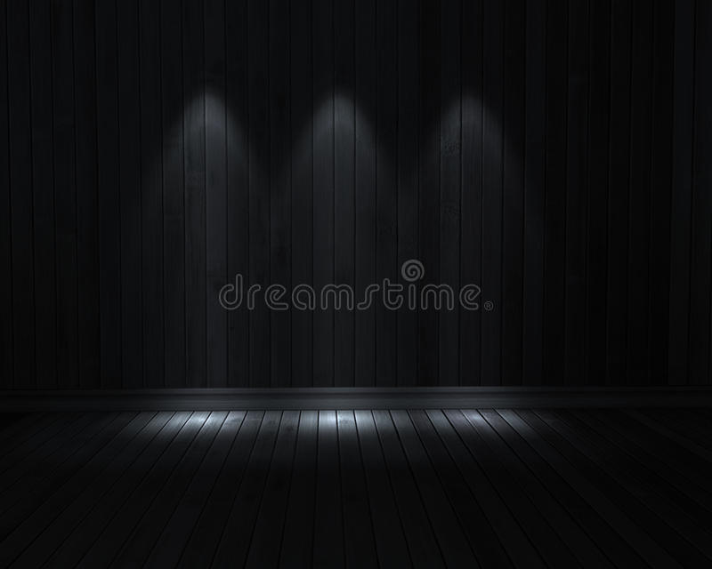 Dark room. With 3 light with wooden floor stock illustration