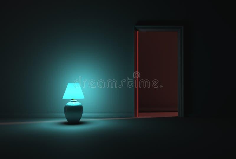Lighting A Dark Room turquoise lamp lighting a dark room royalty free stock photo
