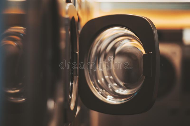 A dark room of a publiс laundry royalty free stock photos