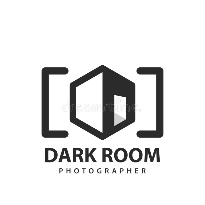 Dark room studio. Media company. Photographer symbol vector illustration