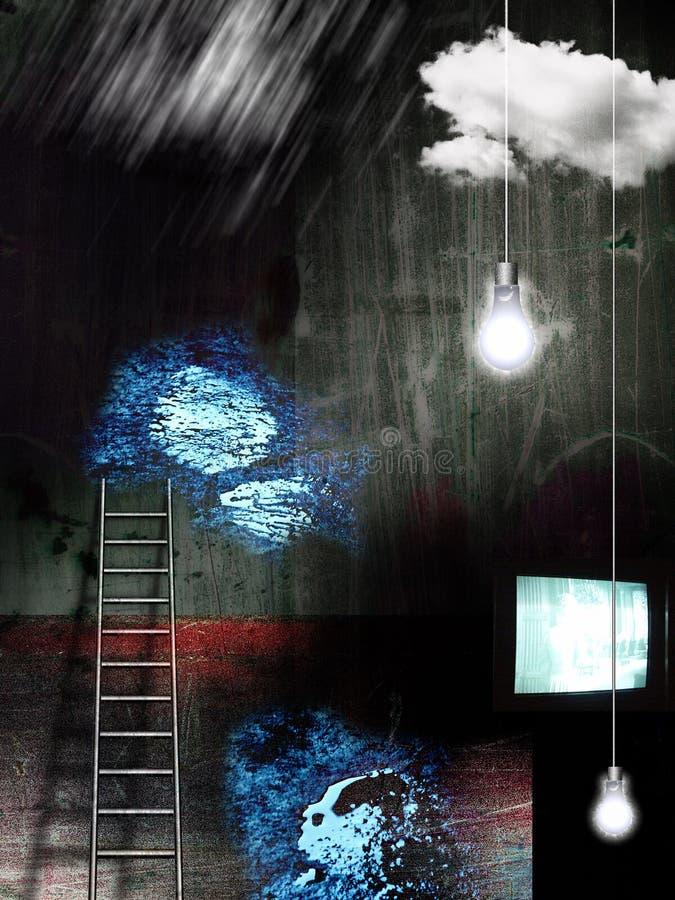 Horror Movie. Dark room. TV-set, light bulbs and ladder vector illustration