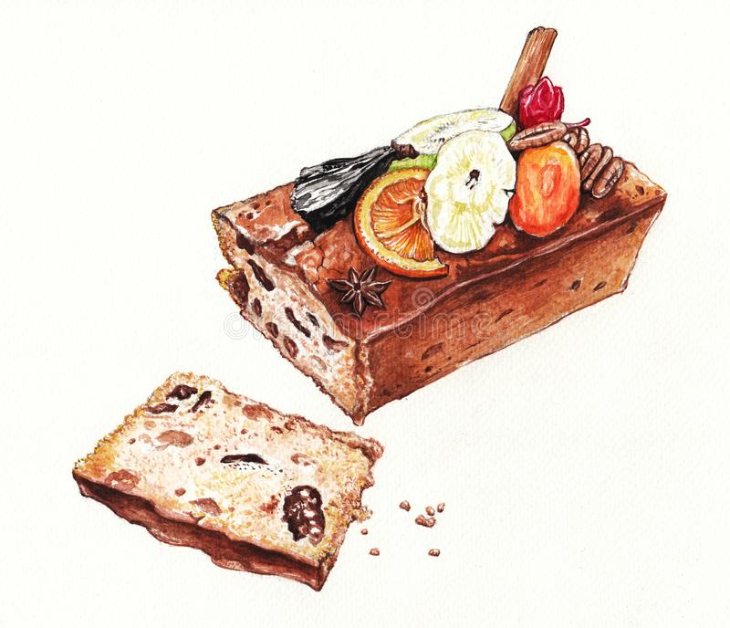 Dark rum Fruitcake. Art Design Dark rum Fruitcake.. Hand watercolor painting on paper royalty free illustration