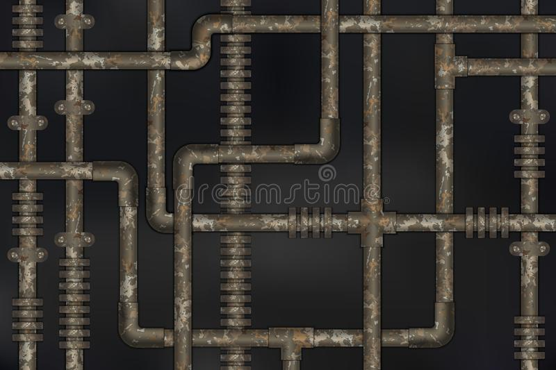 Dark and rusty pipes on the wall abstract industrial steampunk background. Vector illustration royalty free illustration