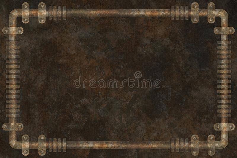 Dark and rusty pipes on the wall abstract industrial steampunk background frame vector illustration