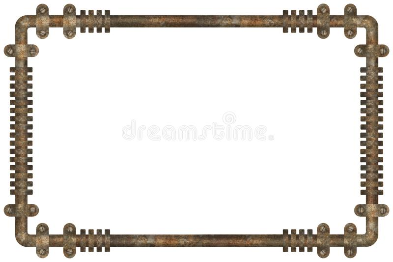 Dark and rusty pipes on the wall abstract industrial steampunk background frame. Illustration stock illustration