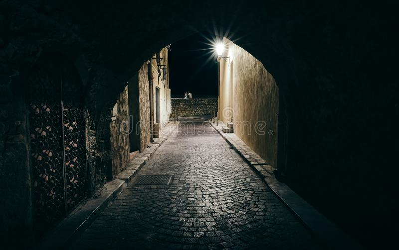 Dark and scary tunnel in Antibes, Cote d`Azur, France.  royalty free stock images