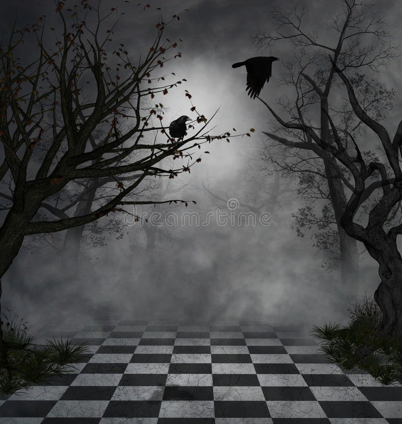Dark scene. Fantastic and macabre scenary with two crows and mist