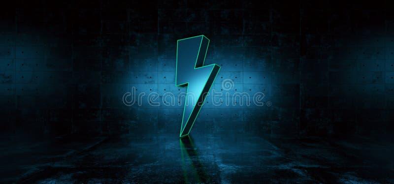 Dark Sci Fi Futuristic Modern Concrete Grunge Room Reflective Texture Empty Space With Blue Big Thunder Bolt High Voltage stock illustration