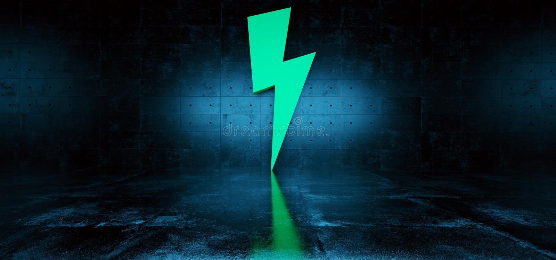 Dark Sci Fi Futuristic Modern Concrete Grunge Room Reflective Texture Empty Space With Green Big Thunder Bolt High Voltage stock illustration